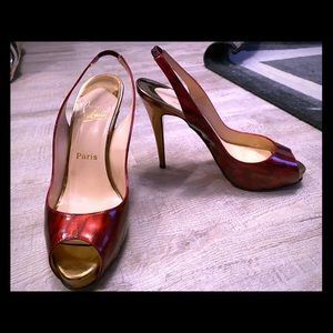 Authentic Louboutin Red Patent Slingback heels